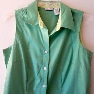 St. John's Bay Green Sleeveless Button Down Top
